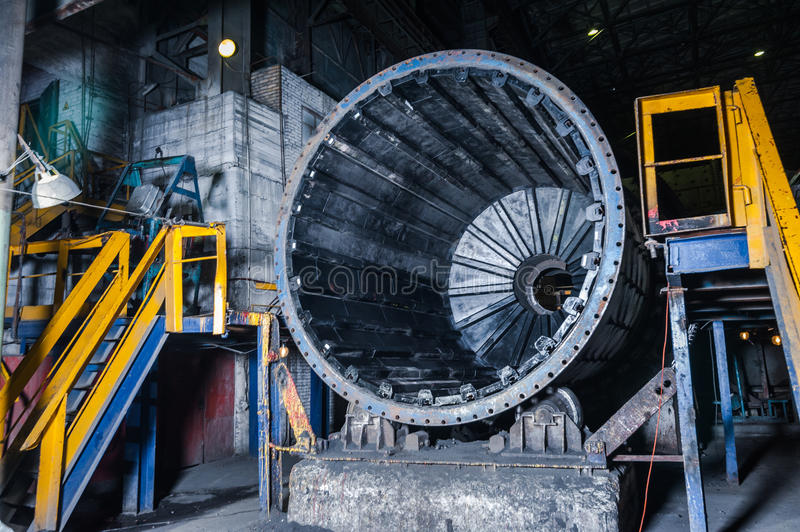 Interior of workshop factory. Indor heavy metal stock photography
