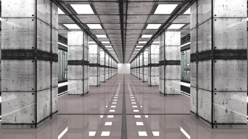 Interior y centro de datos futuristas ilustración del vector