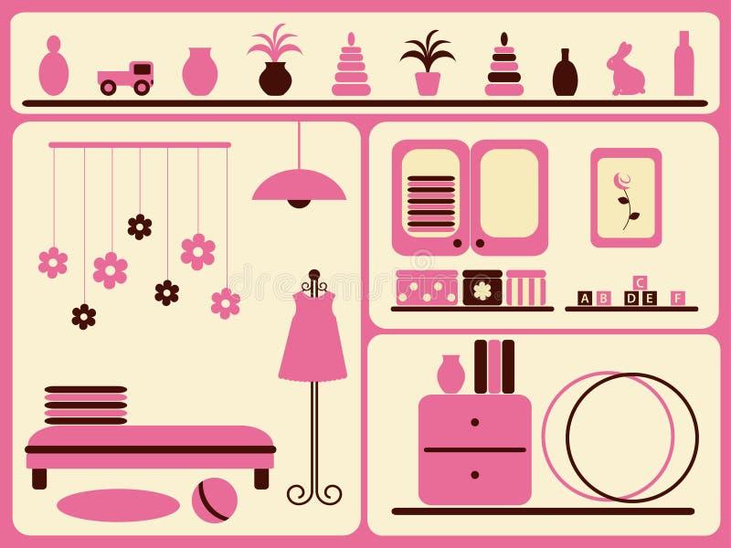 Interior y objetos del sitio de niños fijados. ilustración del vector
