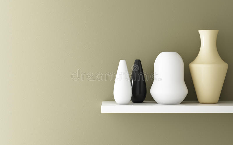 Interior of yellow ochre wall and ceramic. On shelf decorated, 3d rendering stock illustration