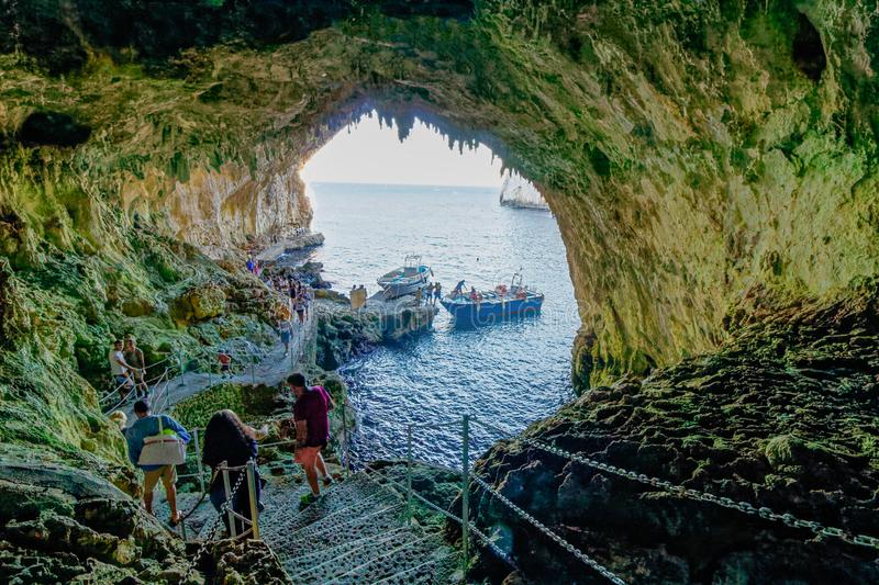 Interior of Zinzulusa Grotto cave system - Puglia, italy. A majestic opening in a sheer sea cliff near Castro welcomes you to the Zinzulusa Cave, one of Salento` stock images