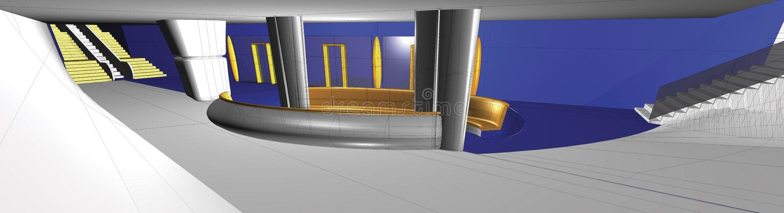 interiore 3D illustrazione di stock