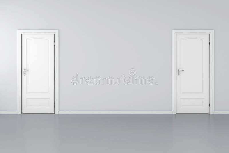 interiore 3d con 2 portelli bianchi royalty illustrazione gratis