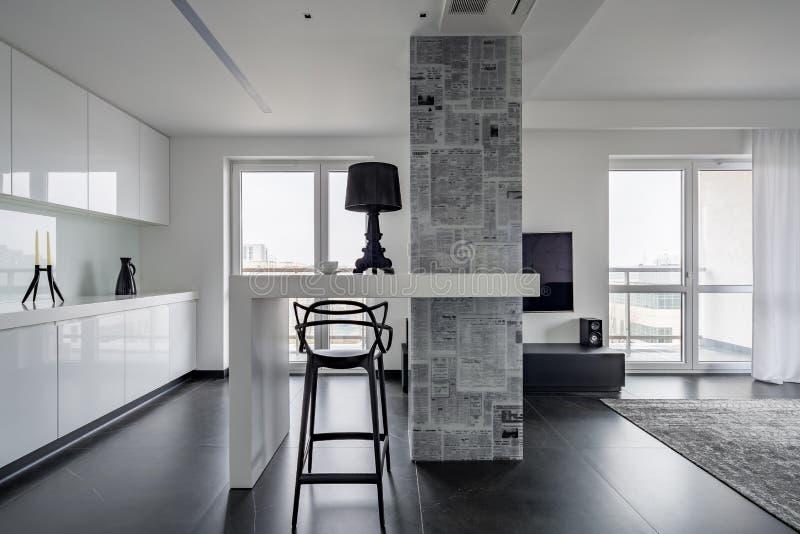 Interiore in bianco e nero moderno fotografia stock libera da diritti