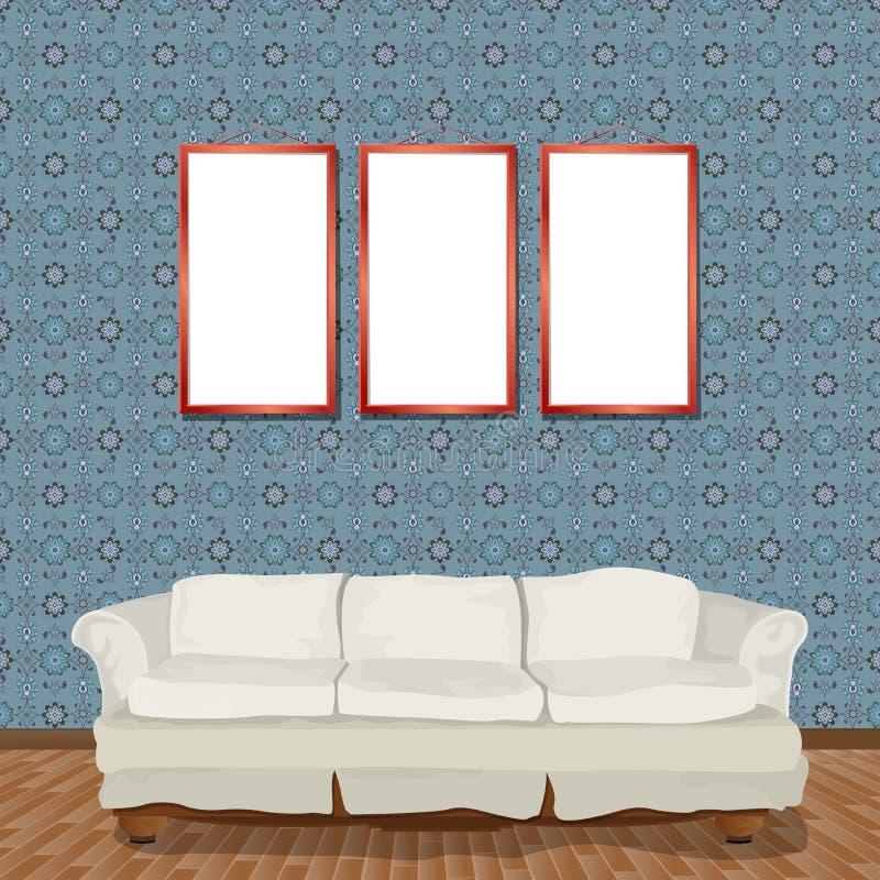 Interiore con il sofà illustrazione vettoriale
