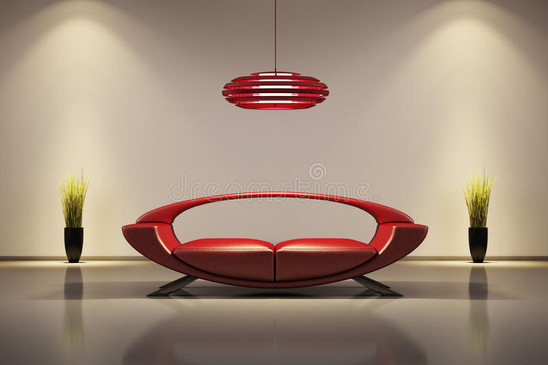 Interiore con il sofà rosso 3d illustrazione di stock