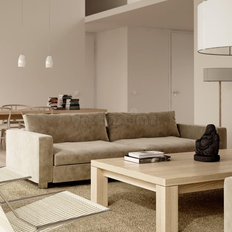 Interiore contemporaneo minimalista beige illustrazione di stock
