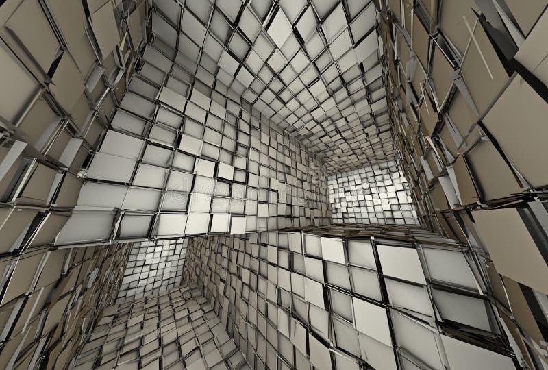 interiore coperto di tegoli futuristico del labirinto del mosaico 3d immagini stock libere da diritti