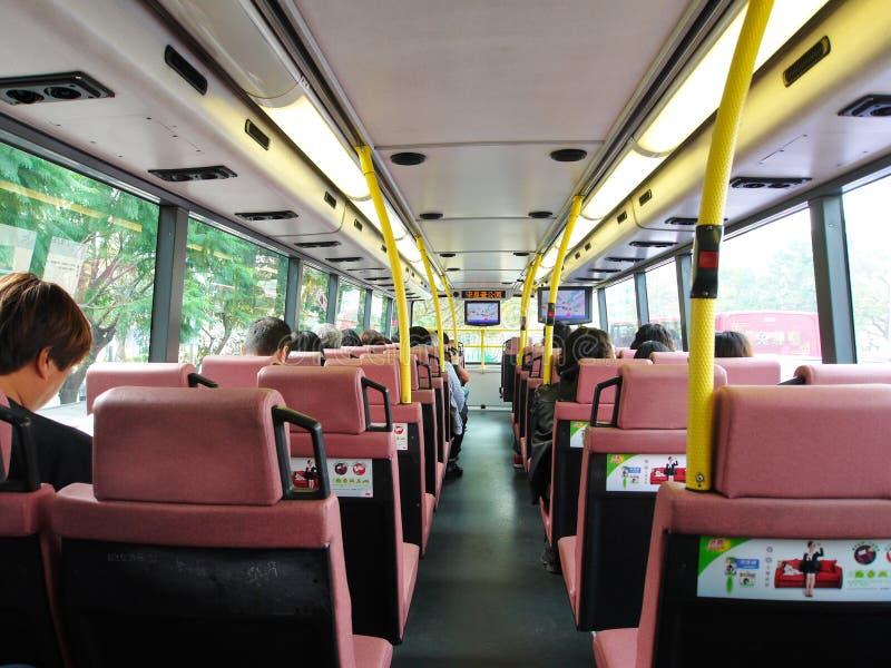 Interiore del bus di doppio ponte di Hong Kong immagini stock