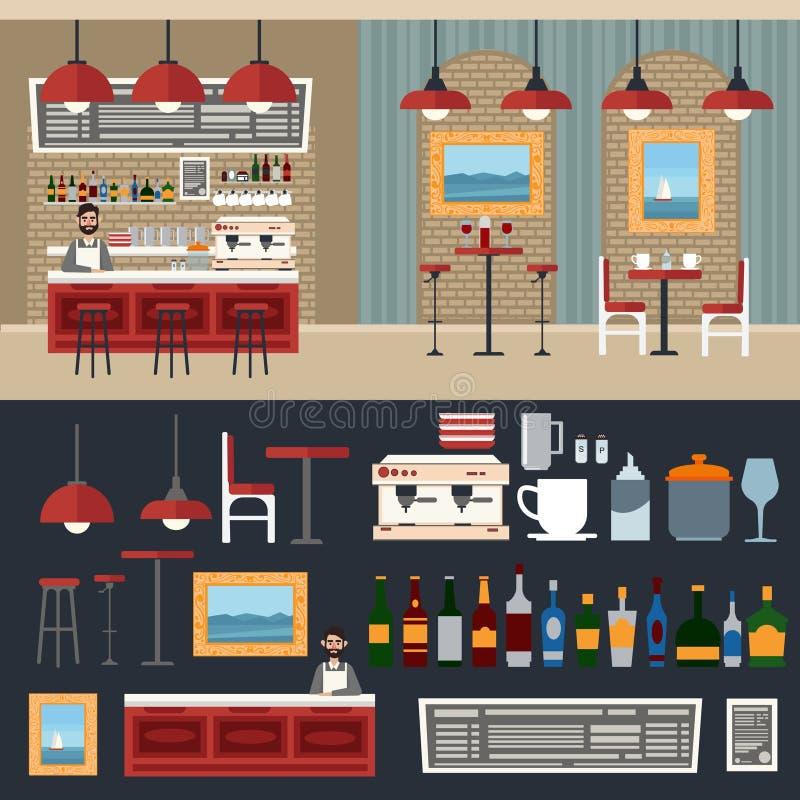 Interiore del caffè Bevande differenti Creatore di caffè barman illustrazione di stock