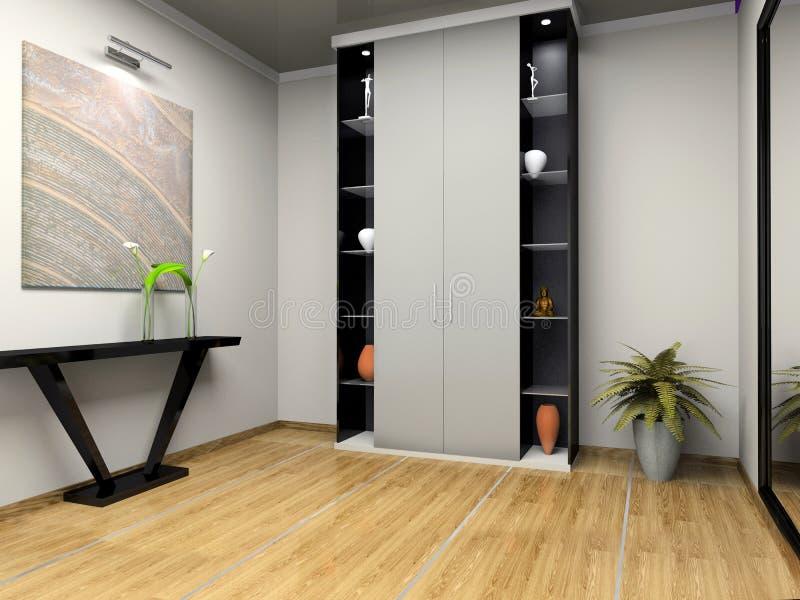 Interiore del corridoio moderno illustrazione di stock for Mobilia arredamento 3d