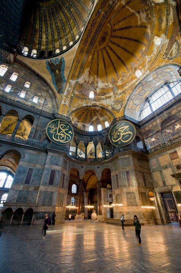 Interiore del museo di Hagia Sophia a Costantinopoli. fotografia stock libera da diritti