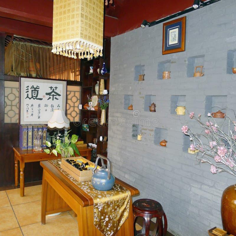 Interiore del ristorante cinese del tè immagine stock libera da diritti