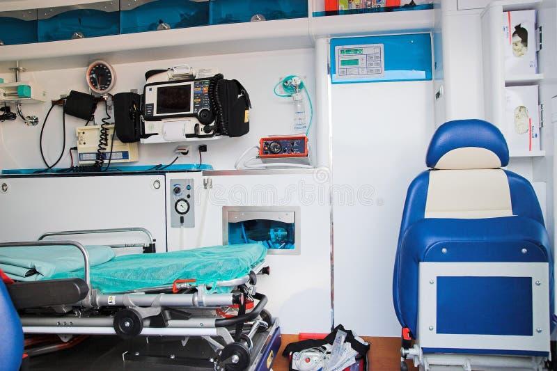 Interiore dell'ambulanza immagine stock