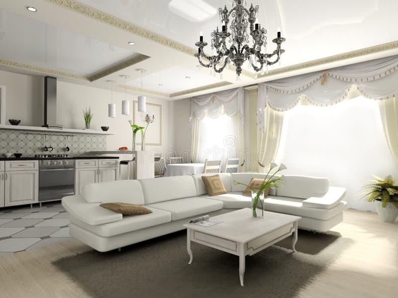 Interiore dell'appartamento nello stile classico illustrazione di stock