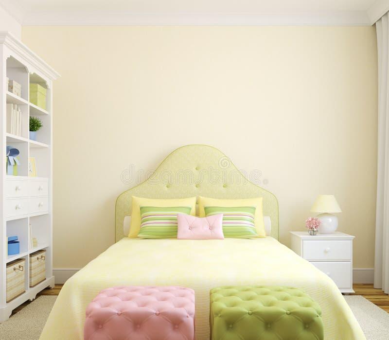 Interiore della camera da letto. illustrazione di stock