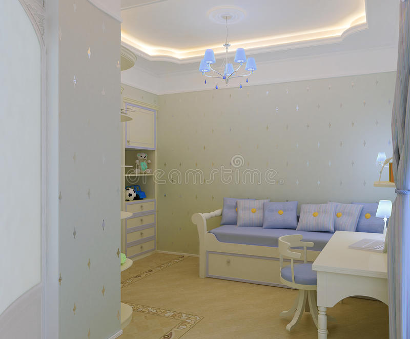Interiore della camera da letto del `s del bambino fotografie stock