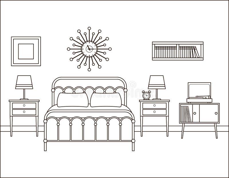Interiore della camera da letto Camera di albergo con letto matrimoniale Vettore Illustratio illustrazione di stock