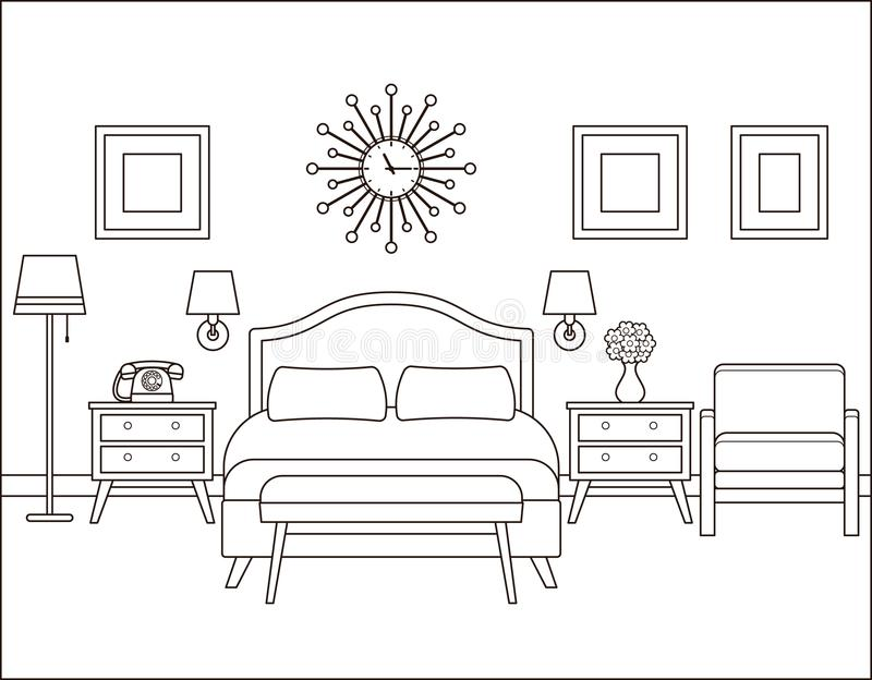 Interiore della camera da letto Camera di albergo nella retro progettazione Vettore Illustratio illustrazione di stock