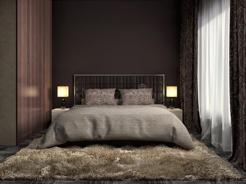 Interiore della camera da letto illustrazione 3D illustrazione vettoriale