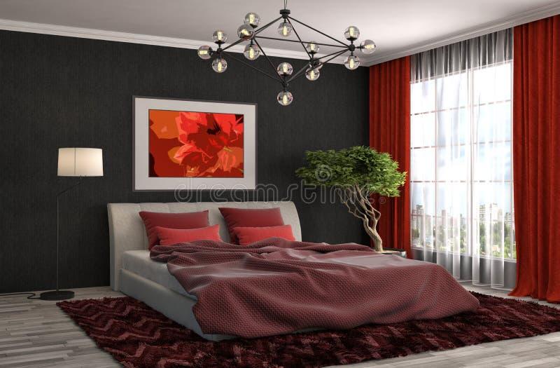 Interiore della camera da letto illustrazione 3D illustrazione di stock
