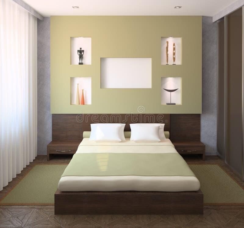 Interiore della camera da letto moderna. royalty illustrazione gratis