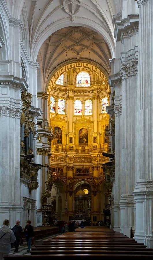Interiore della cattedrale di Granada spain fotografia stock libera da diritti