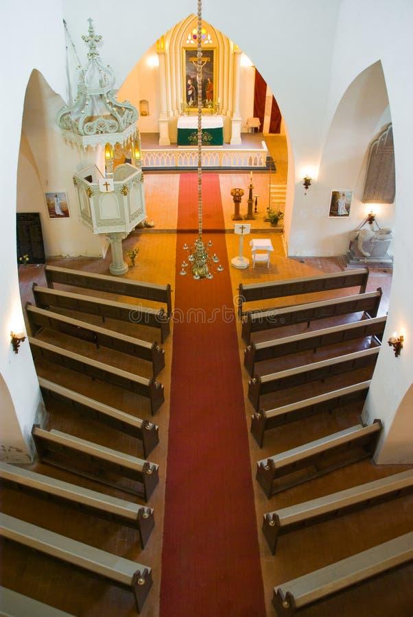 Interiore della chiesa da sopra immagine stock