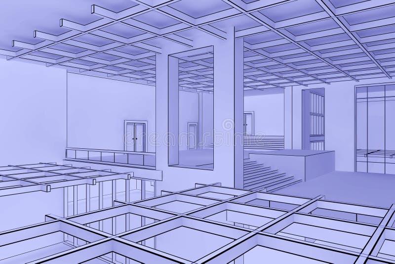 Interiore della cianografia illustrazione vettoriale