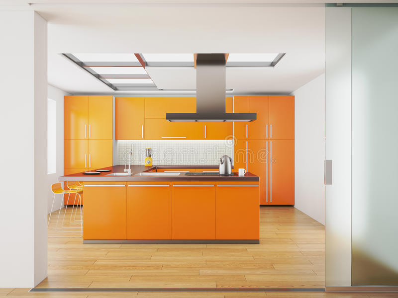 Interiore della cucina arancione moderna illustrazione di stock