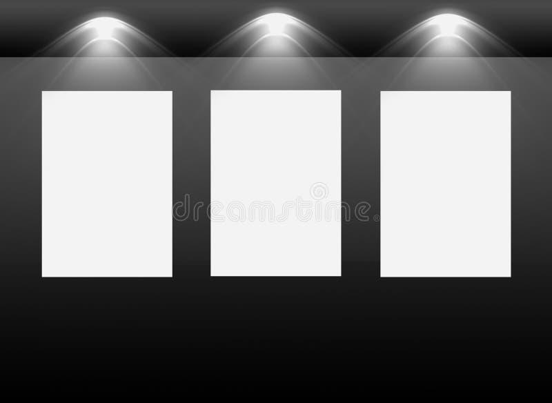 Interiore della galleria con i blocchi per grafici vuoti sulla parete royalty illustrazione gratis