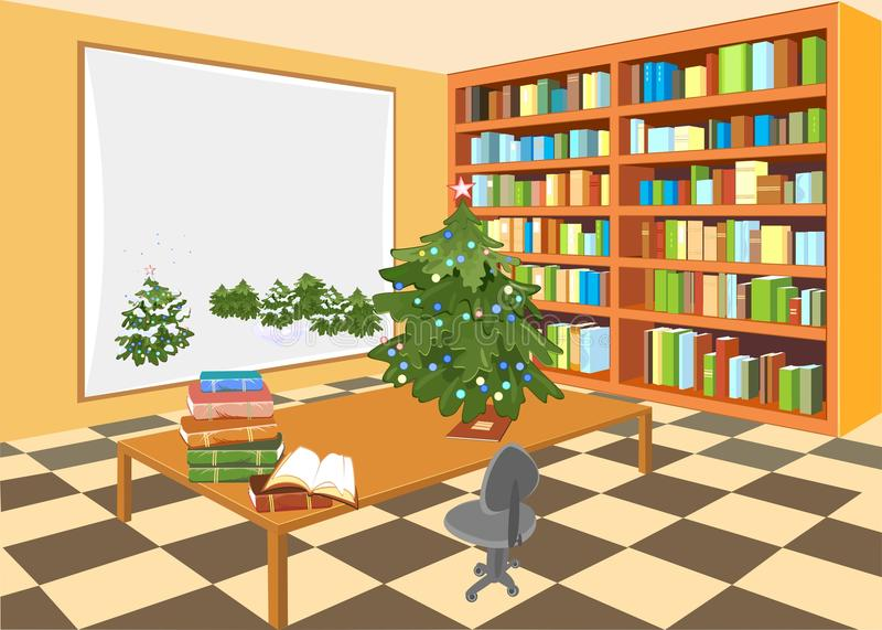 Interiore della libreria illustrazione di stock