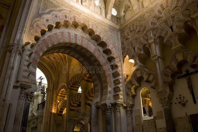Interiore della moschea di Cordova fotografia stock