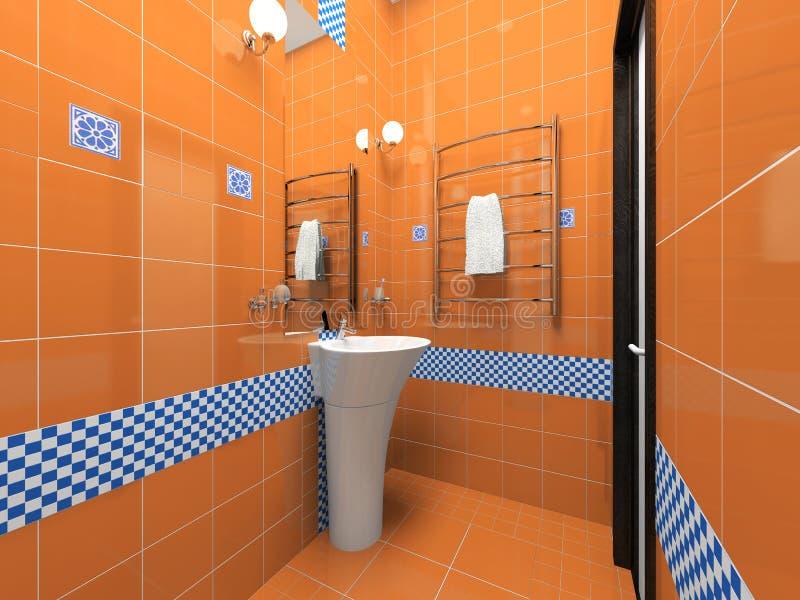 Interiore della stanza da bagno arancione illustrazione di - Bagno arancione ...