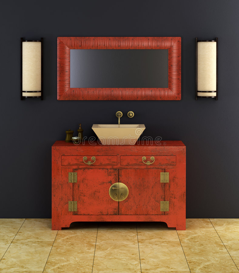 Interiore della stanza da bagno di stile cinese royalty illustrazione gratis