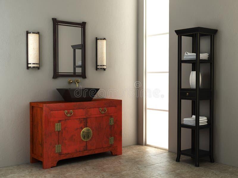 Interiore della stanza da bagno di stile cinese illustrazione di stock