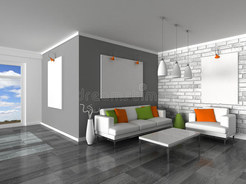 Interiore della stanza moderna, della parete grigia e della s bianca illustrazione vettoriale