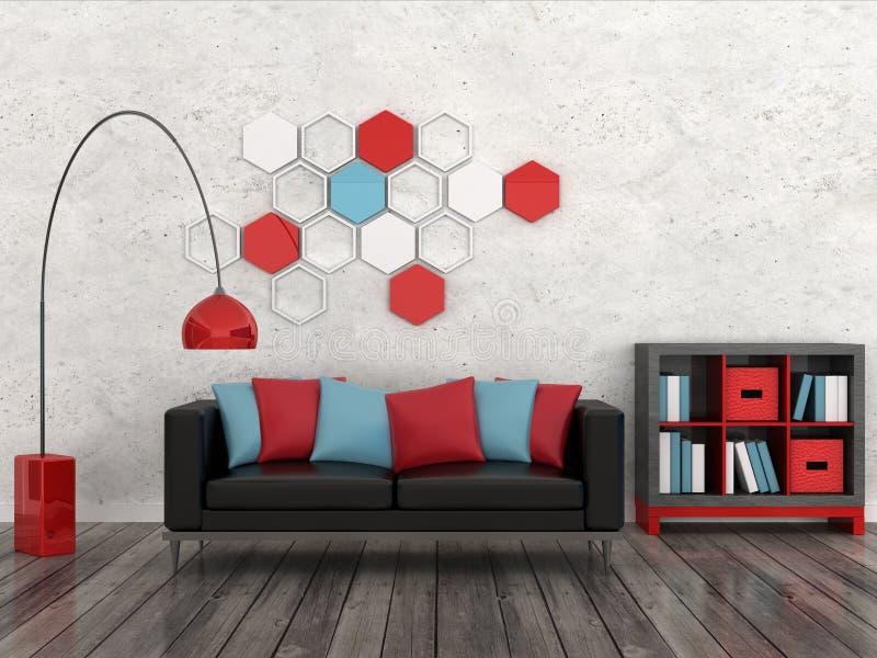 Interiore della stanza moderna, parete bianca, SOF nero royalty illustrazione gratis