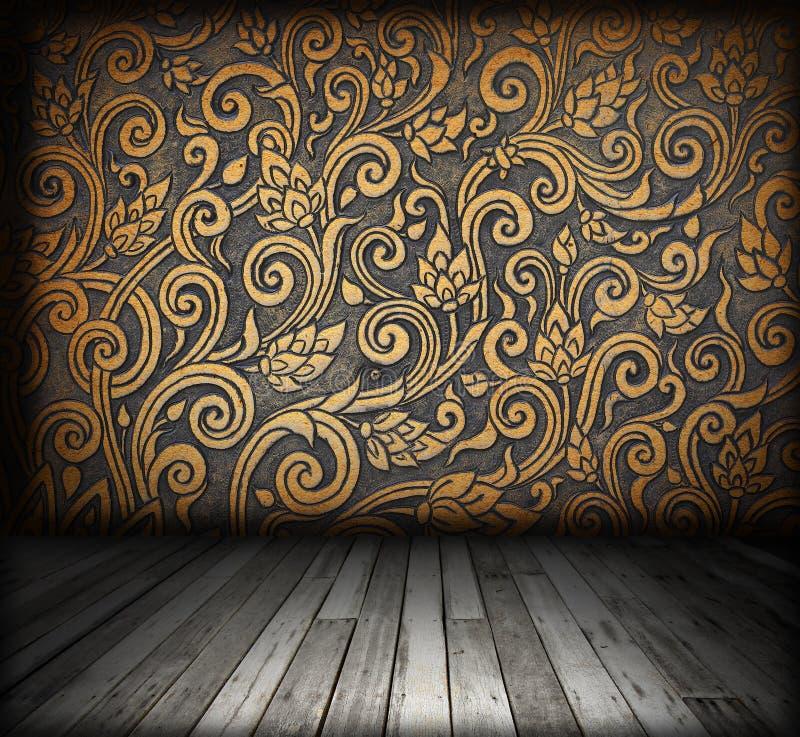 Interiore della stanza - pavimento di legno dell'annata immagini stock libere da diritti