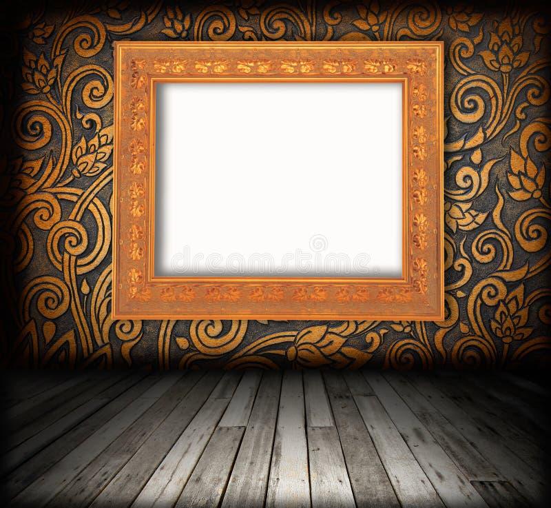Interiore della stanza - pavimento di legno dell'annata immagini stock
