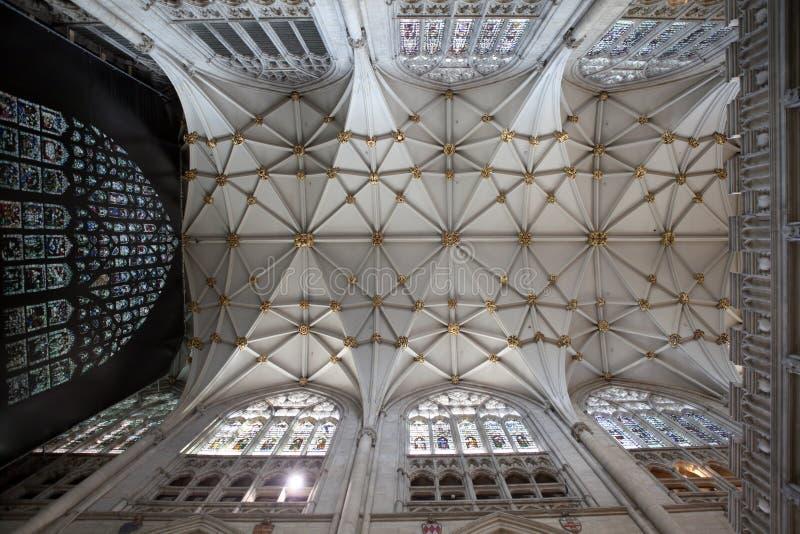 Interiore di Churh, soffitto decorato della cattedrale di York immagine stock libera da diritti