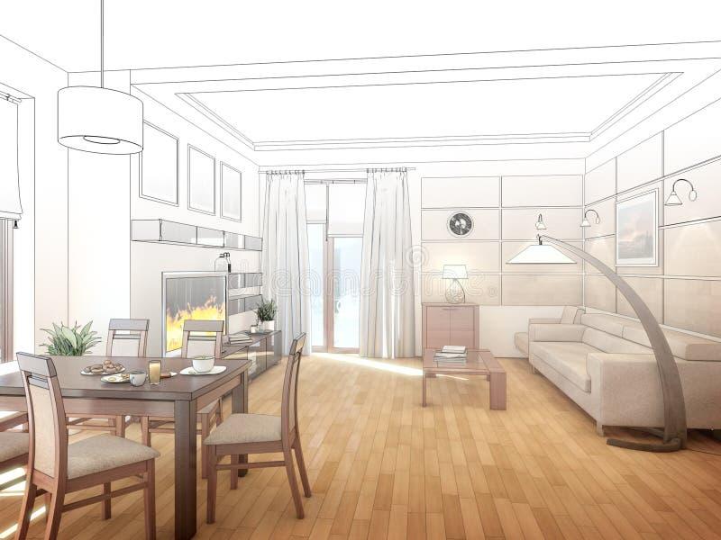 Interiore di disegno moderno del salone 3d rendono illustrazione vettoriale