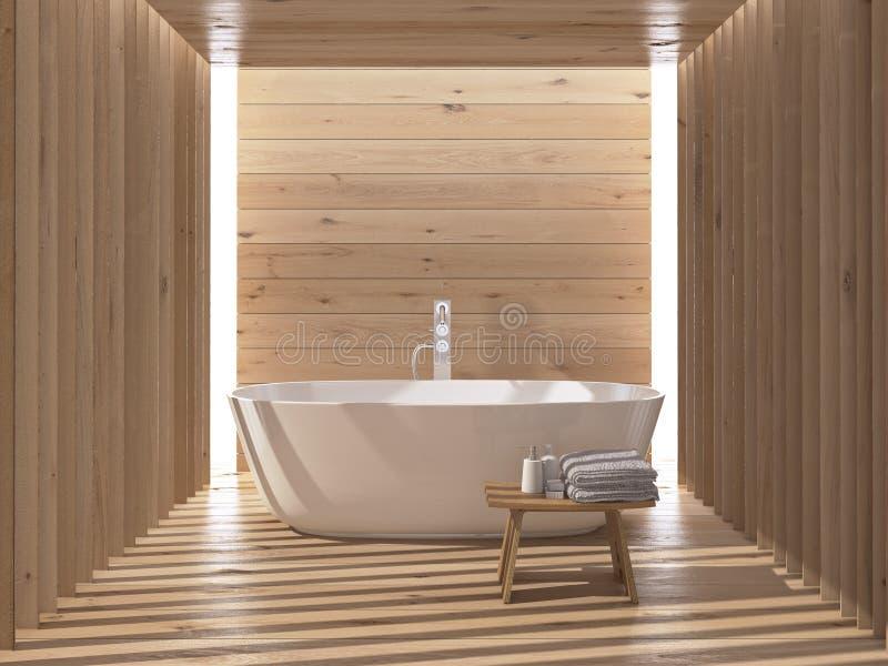 Interiore di lusso moderno della stanza da bagno rappresentazione 3d fotografia stock libera da diritti