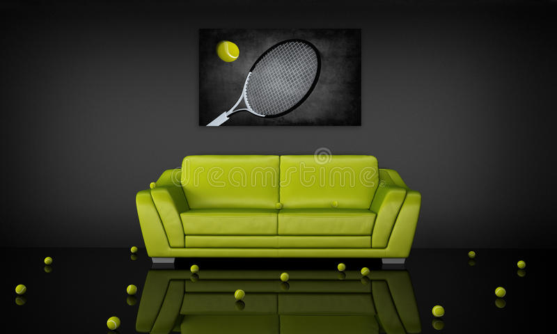 Interiore di tema di tennis illustrazione di stock