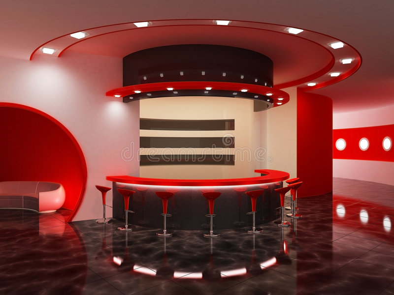 Interiore di una barra moderna illustrazione di stock