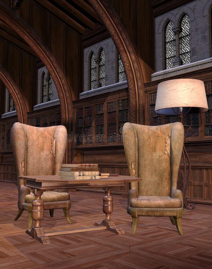 Interiore di vecchia libreria royalty illustrazione gratis