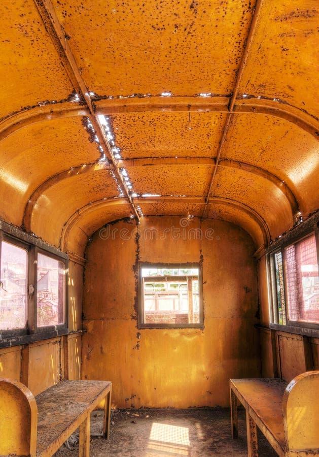 Interiore di vecchio treno fotografia stock libera da diritti