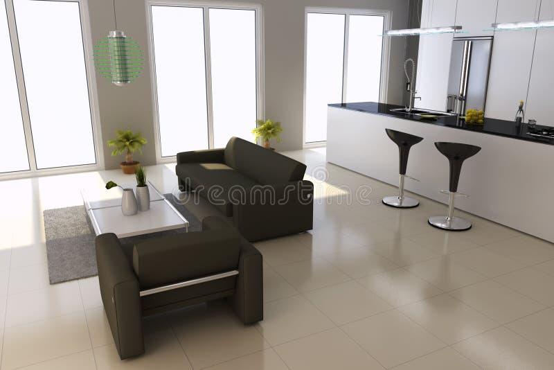 Interiore domestico moderno illustrazione di stock
