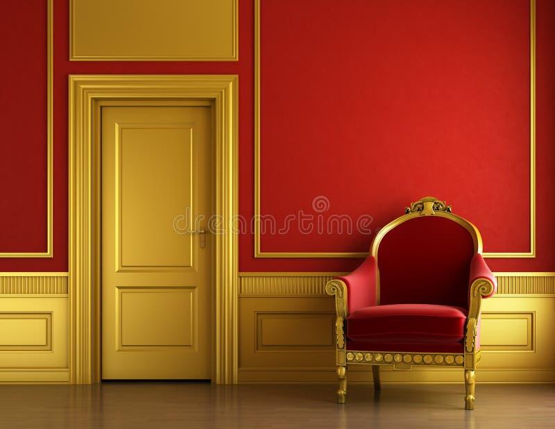 Interiore dorato e rosso alla moda royalty illustrazione gratis
