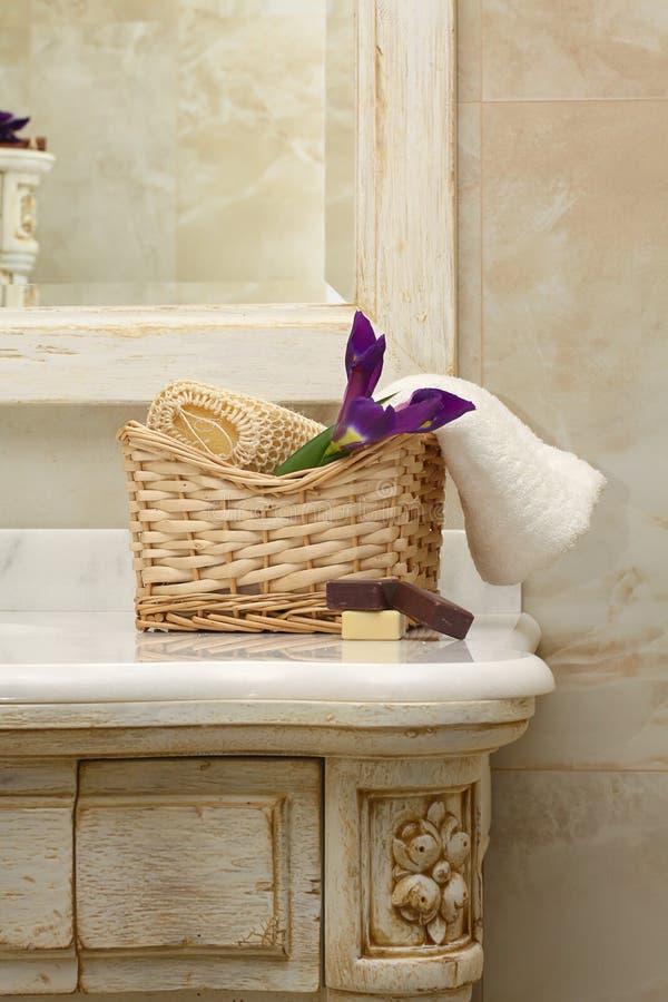 Interiore e mobilia di lusso della stanza da bagno immagini stock libere da diritti